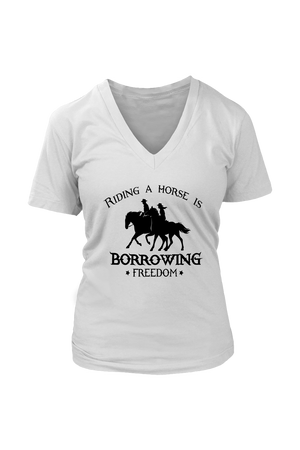 Light Gray Riding A Horse - Borrowing Freedom T-Shirt