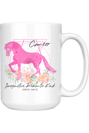 Cancer Zodiac Horse White Coffee Mug-Drinkware-teelaunch-Cancer Pink Horse Mug-Three Wild Horses