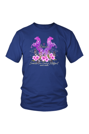 Gemini Horse Unisex Shirt-T-shirt-teelaunch-District Unisex Shirt-Royal Blue-S-Three Wild Horses