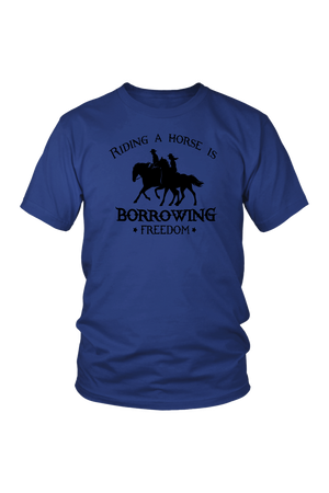 Midnight Blue Riding A Horse - Borrowing Freedom T-Shirt