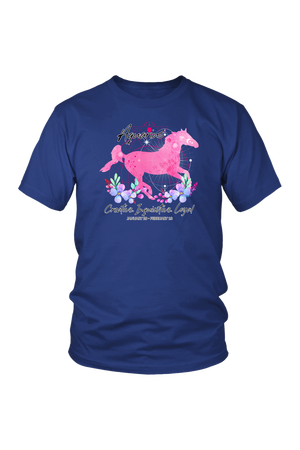 Aquarius Zodiac Horse Unisex Shirt-T-shirt-teelaunch-District Unisex Shirt-Royal Blue-S-Three Wild Horses