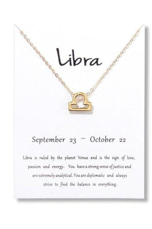 Libra Zodiac Gold Necklace-Jewelry-Three Wild Horses-Three Wild Horses