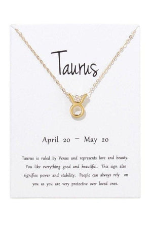 Taurus Zodiac Gold Necklace-Jewelry-Three Wild Horses-Three Wild Horses