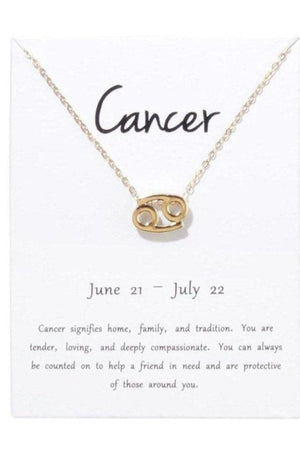 Cancer Zodiac Gold Necklace-Jewelry-Three Wild Horses-Three Wild Horses