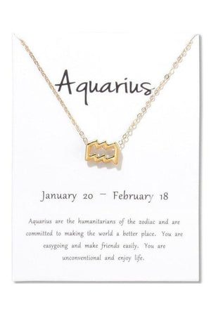 Aquarius Zodiac Gold Necklace-Jewelry-Three Wild Horses-Three Wild Horses