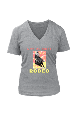Not My First Rodeo Horse Shirt-T-shirt-teelaunch-Womens V-Neck-Heathered Nickel-S-Three Wild Horses