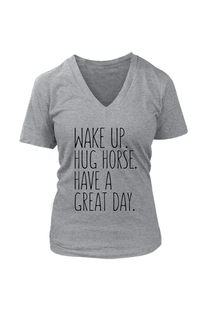 Dark Gray Hug Horse Have A Great Day Horse T-Shirt