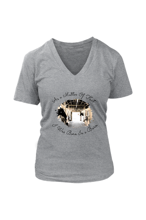 Born In A Barn - Tops-T-shirt-teelaunch-Womens V-Neck-Heathered Nickel-S-Three Wild Horses