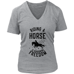 Dark Gray Riding A Horse is Borrowing Freedom T-Shirt