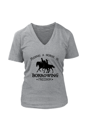 Dark Gray Riding A Horse - Borrowing Freedom T-Shirt