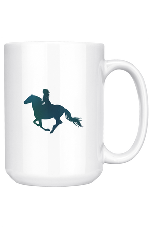 White Smoke Horse Riding Mug