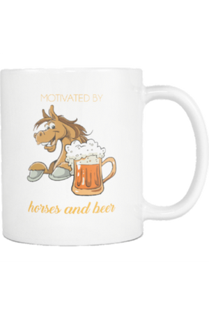 Horses and Beer - Mug-Drinkware-teelaunch-COFFEE MUG 11 OZ-Three Wild Horses