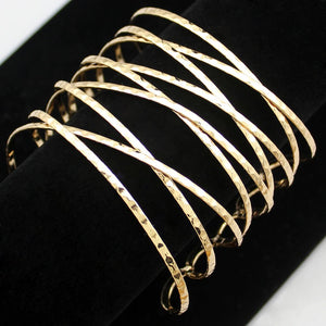 Black Vintage Gold Twisted Cross Cage Wide Open Hammered Cuff Bracelet