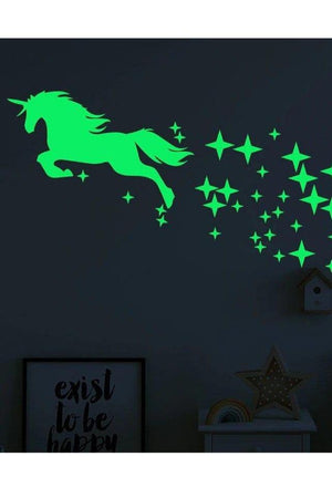 Spring Green Star Pattern Unicorn Wall Sticker