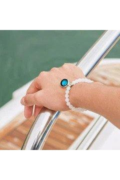 White Moonstone Custom moon Phase Bead Bracelet-Bracelet-moonglow-Three Wild Horses