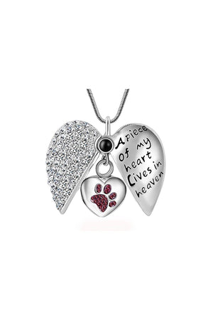 Gray Dog/Cat Paw Print Memorial Necklace