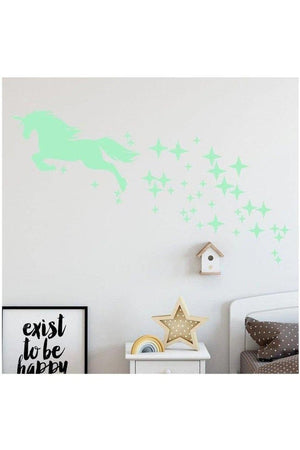 Powder Blue Unicorn and Stars Glow-In-The-Dark Wall Decal