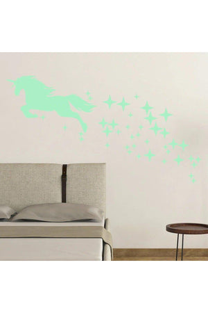 Dark Gray Unicorn and Stars Glow-In-The-Dark Wall Decal