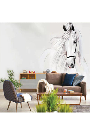 Dim Gray Horse Sketch Wall Art