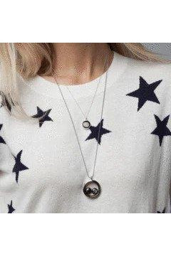 Two Moon Custom Necklace Stainless Steel-Necklace-moonglow-Three Wild Horses