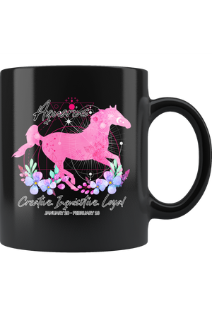 Aquarius Zodiac Horse Black Mug-Drinkware-teelaunch-Aquarius Pink Horse Black Mug-Three Wild Horses