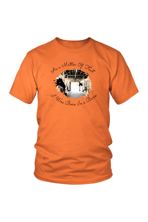 Born In A Barn - Tops-T-shirt-teelaunch-Unisex Tee-Orange-S-Three Wild Horses