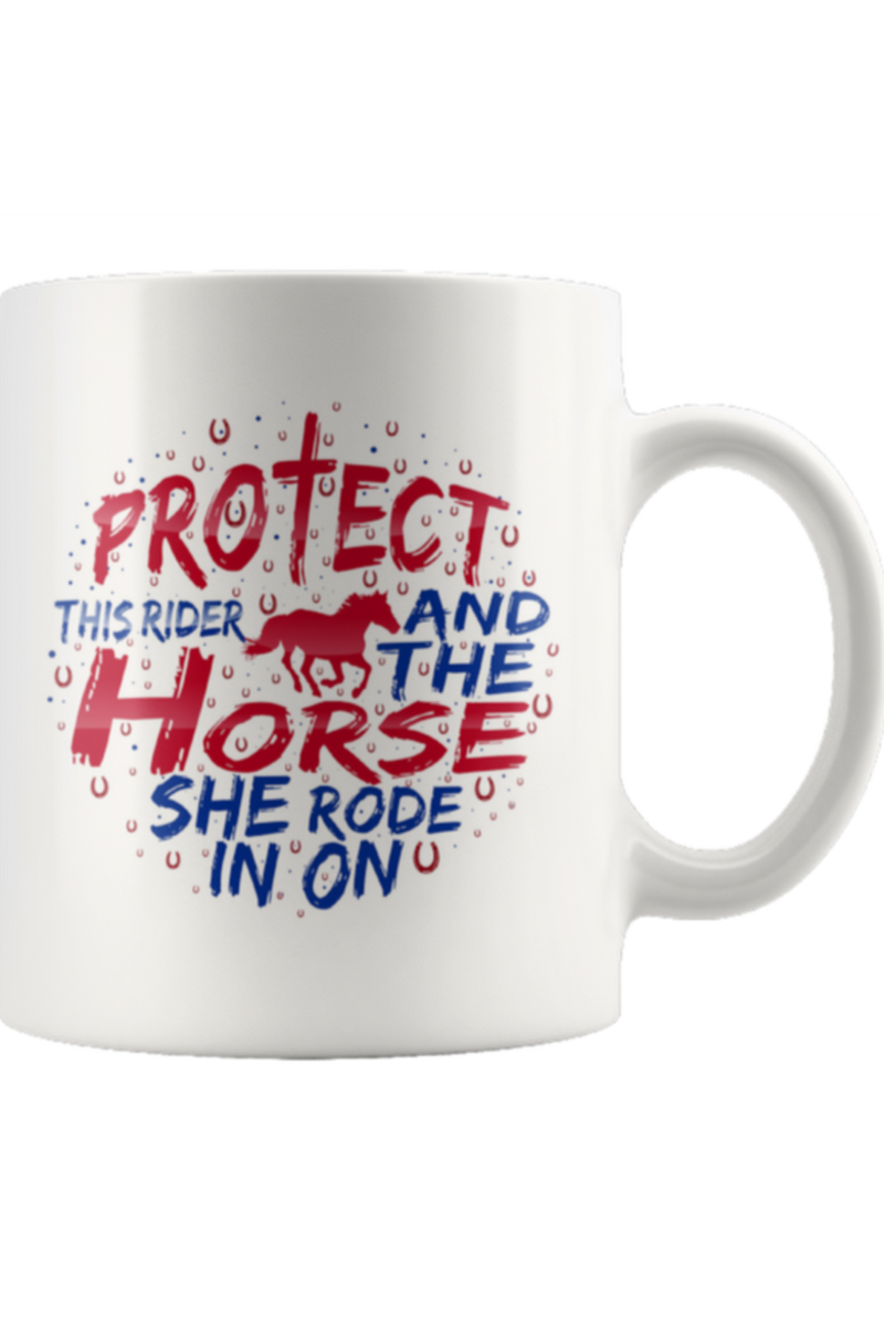 Protect the Rider and Horse Mug-Drinkware-teelaunch-COFFEE MUG 11 OZ-Three Wild Horses