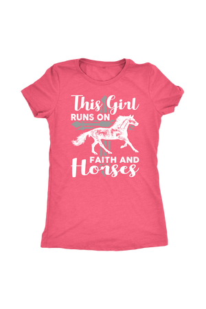 Light Coral This Girl Runs on Faith & Horses T-Shirt