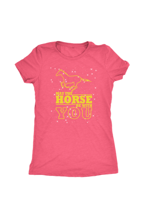 Light Coral May The Horse Be With You - T-Shirt