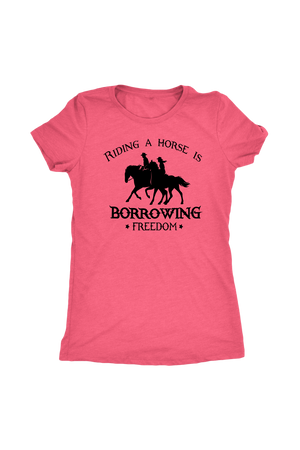Light Coral Riding A Horse - Borrowing Freedom T-Shirt