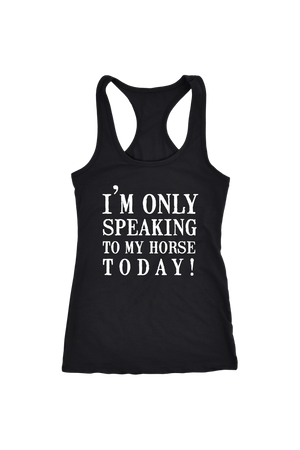 Only Speaking To My Horse Tops in Black-T-shirt-teelaunch-Racerback Tank-Black-S-Three Wild Horses