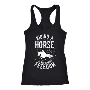 Black Riding A Horse is Borrowing Freedom T-Shirt in Black