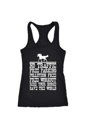 Ride Your Horse, Save the World - Tops-Tops-teelaunch-Racerback Tank-Black-S-Three Wild Horses