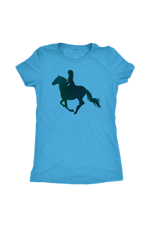 Cornflower Blue Horse Riding T-Shirt