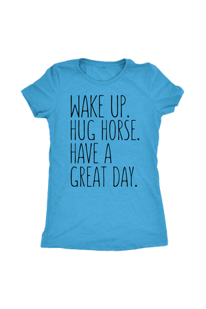 Cornflower Blue Hug Horse Have A Great Day Horse T-Shirt