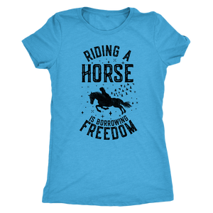 Cornflower Blue Riding A Horse is Borrowing Freedom T-Shirt