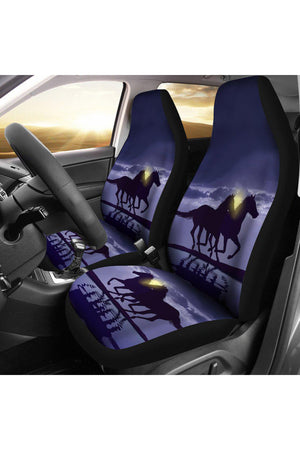 Horse - Night Car Seat Cover-Three Wild Horses-Horse - Night Car Seat Cover-Three Wild Horses