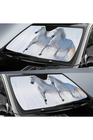 Horses Sun Shade-Sun Shade-Pillow Profits-57 X 27.5 Inches-Three Wild Horses