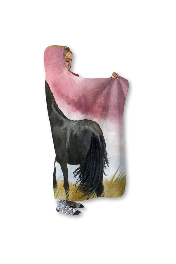 "Horse Hooded Blanket-Blankets-Pillow Profits-Adult 80""x60""-Three Wild Horses"