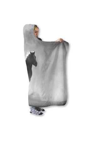 "Clouded Horse Hooded Blanket-Blankets-Pillow Profits-Hooded Blanket-Adult 80""x60""-Three Wild Horses"