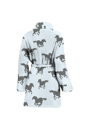 Horse Print Women's Bath Robe-Bath Robes-Pillow Profits-Universal Fit-Three Wild Horses
