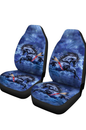 Blue Horse Car Seat Cover-Car Seats Covers-Pillow Profits-Universal Fit-Three Wild Horses