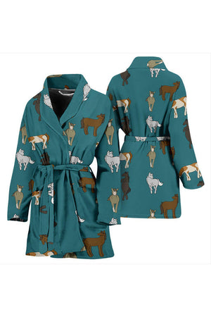 Horsey Pattern Women's Bath Robe-Bath Robes-Pillow Profits-Universal Fit-Three Wild Horses