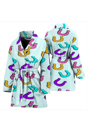 Horseshoe Pattern Women's Bath Robe-Bath Robes-Pillow Profits-Universal Fit-Three Wild Horses