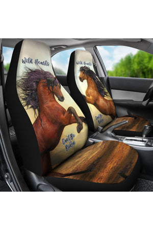 Wild Hearts Can't Be Broken Car Seat Cover-Car Seats Covers-Pillow Profits-Universal Fit-Three Wild Horses