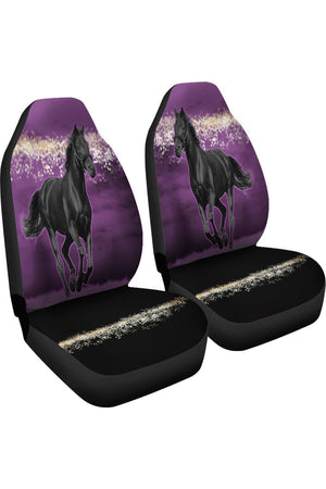 Horse Purple Night Car Seat Covers-Car Seats Covers-Pillow Profits-Universal Fit-Three Wild Horses
