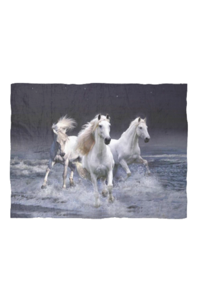 Three White Horses - Fleece Blanket