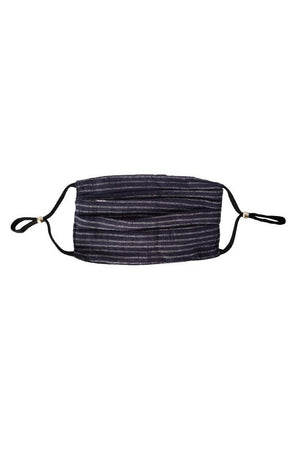 Dark Slate Gray Black to navy stripe Reversible Fancy Pleated  Face Mask with Filters + Carry Pouch
