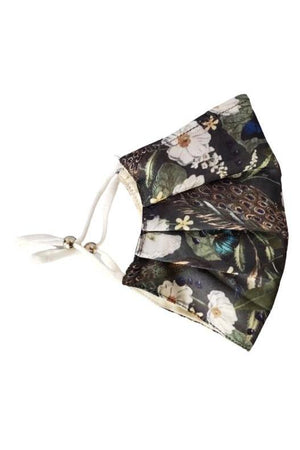 Dark Slate Gray Peacock Floral Fancy Pleated  Face Mask with Filters + Carry Pouch