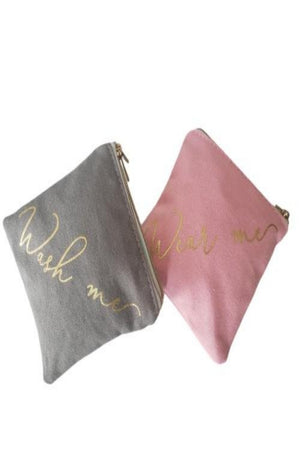 Rosy Brown Storage Pouch for Face Mask - 2 compartment Pink/Grey